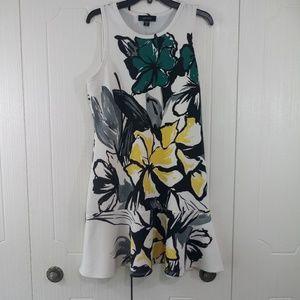 Karen Kane White Floral Sleeveless Dress Size XL